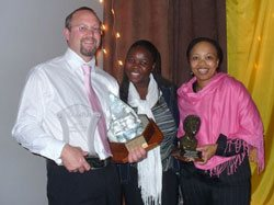 Mark Molenaar, Rudo Maponga and Nomsa Khanyile of TNS Research Surveys with their trophies, won at last week's Southern African Marketing Research Conference.