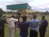 Minister of works and supply, Hon. Kapembwa Simbao, MP, at the official opening of the bridge.