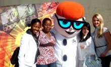 Youth University Summer School 2008 delegates with Cartoon Network character, Dexter.