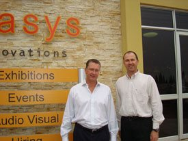 Kevin Kennedy (left) and Patrick Cronning outside the Oasys Innovations head office in Johannesburg.
