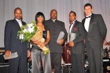 The judges of the awards (from left to right): Victor Kgomoeswana (Chairman of Moneybiz); Zelphinia Mvula (BEE Manager from Metropolitan Holdings Ltd); Kelly Masete (Project Director – Members in Business – of SAICA); Tyrone Naidoo (Managing Director of BEE Online) and Ralf Fletcher (Managing Director of Topco Media).
