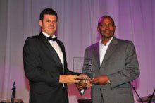 Winner of the Top New and Innovative Company – African Access Holdings. Mr Seth Phalatse, the Chairman of the African Access Holdings Group with Ralf Fletcher from Topco Media.