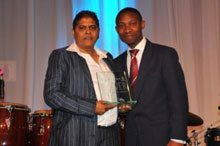 Winner of the Top Black Businesswoman of the Year - Geeta Singh from Voltsing Electrical – category sponsored by Kaya FM.