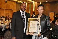 Receiving the award is Peter Gathuru, Alliance Media Namibia General Manager and Heidi Fernandes, Alliance Media Namibia Sales Executive.