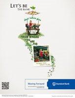 """Print: Standard Bank """"Flower Seller"""" – note the QR code in the bottom left corner."""