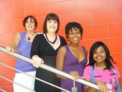 Vega copy navigators Roela Hattingh and Kate Binge, and 2008 Pendoring student winners, art director Trish Stewart and copywriter Mukondi Ralushayi.