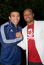 Phat Joe, Heart 104.9FM Breakfast Show host, was there to wish the Vodacom Stormers 2010 squad all the best for the season (Phat Joe and Bryan Habana)