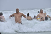 Egon Seconds and listeners as they plunge in the cold water