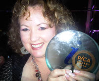 Louise Marsland, editor-in-chief of AdVantage magazine, with her PICA for Best Trade & Industry Writer of the Year. Pic: Simone Puterman.