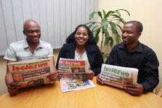 In good hands, the experienced editorial team (l to r) Sports Editor, Sihle Ndlovu, newly-appointed Weekend Editor, Slindile Khanyile and Editor, Mazwi Xaba.