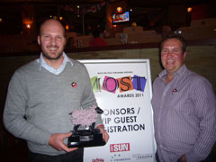 Mike Luscombe, CEO and Mark Botha, National Sales Manager, with the MOST awards trophy
