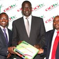 L to R: Stephen Isaboke (general manager of MultiChoice Kenya), Samuel Poghisio (Minister for Information and Communications, Kenya) and Felix Kyengo (manager of GOtv)