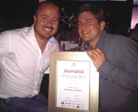 Cerebra MD Craig Rodney with Herman Manson, the first Vodacom Social Media Journalist of the Year. Pic: Simone Puterman.