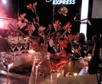 A 'tree' made out of recycled components forms part of the table decor at the 2011 Vodacom Journalist of the Year Awards. Pic: Simone Puterman.
