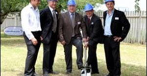 The official sod turning ceremony held on Wednesday, 25 January 2012 Standing left to right: Leon Labuschagne (Development Division, Growthpoint Properties); Estienne de Klerk (Executive Director, Growthpoint Properties); Carsten Bjerg (Group President/CEO Grundfos); Jonathan Hamp – Adams (General Manager, Grundfos Africa) and Engelbert Binedell (Industrial Division Head, Growthpoint Properties).