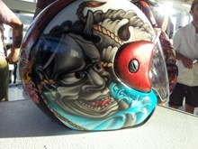 Customised helmet by Derek Baker