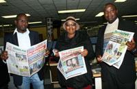 Sandile Mdadane Isolezwe weekend editor, Slindile Khanyile Isolezwe deputy editor and Sazi Hadebe Isolezwe editor