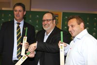 Jacques Faul (acting CEO of Cricket south Africa), Dr. David Fraser (chief technology officer at Blue Label Technology) and Brett Levy (CEO of Blue Label Telecoms).