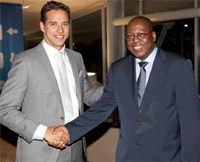 Olympic gold and silver medallist Chad Le Clos and KZN MEC for Economic Development & Tourism Michael Mabuyakhulu at the SETE Gala Dinner