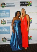Kass Naidoo and Olympic bronze medallist Bridgitte Hartley at the SETE Gala Dinner