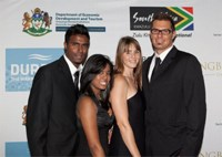 SA Volleyball player Nathan Earnest, Anneline Nambiar, Olympic paddler Tiffany Kruger and Ryan Brennan at the SETE Gala Dinner