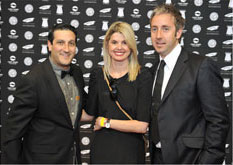 Paula Hulley and Alistair Irving from Gloo, with Kevin Fine from Jacaranda FM, on the Loeries red carpet - Gloo