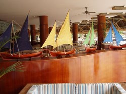 And these are models of the traditional fishing boat after which the hotel is named.