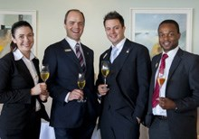 Finalists Wayve Kolevsohn, Kayetan Meissner, Jeff Lopes (Saxon Boutique Hotel) and Greg Mutambe (12 Apostles Hotel and Spa)