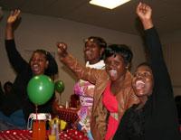 Among the 100 top caregivers enjoying The Unlimited Child Christmas Party are (from left): Zoliswa Dzanibe of Epwaleni Crèche, Ntombifuthi Moyana of Mount Moriah Crèche, Lebohang Ramoholi of Sunshine Crèche and Funephi Zulu of Lihlithemba Crèche.