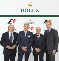 Sir Jackie Stewart, Rolex Testimonee (left); Gian Riccardo Marini, chief executive officer of Rolex SA; Bernie Ecclestone, CEO of the Formula One group; Jean-Claude Killy, Rolex Testimonee and member of the board of directors of Rolex SA. Image: © Rolex / Eddy Mottaz)