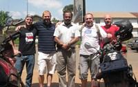 L to R: Rosca de Waal, Peter Pretorius, Mr. Saleem (manager of Tyre Express in Uganda), Gerhard de Waal and Oscar de Waal