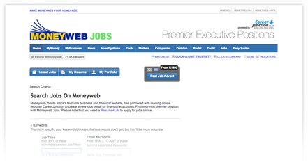 Moneyweb and CareerJunction launch a premium financial Jobs Portal