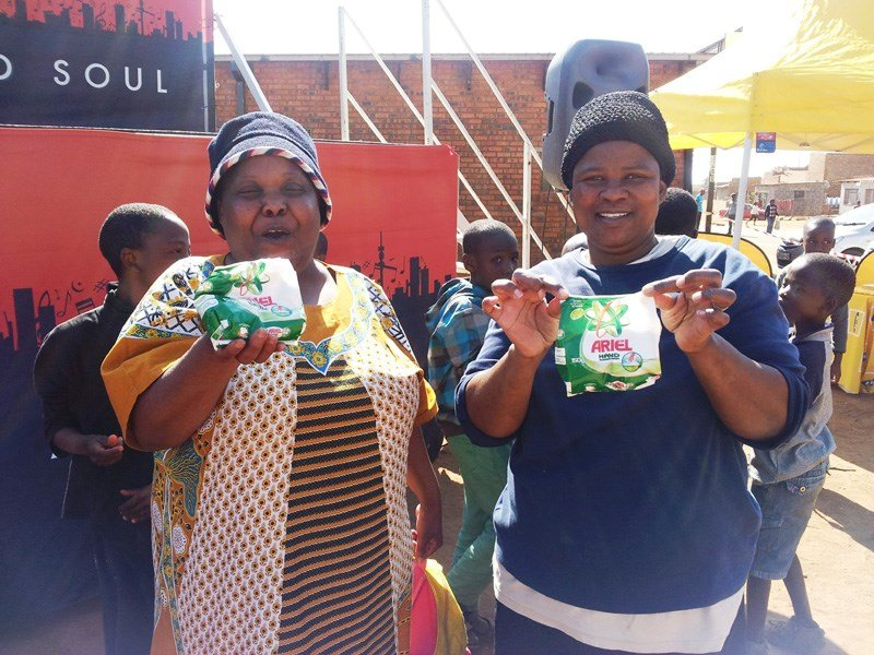 Spectators at the Speech Ndlovu Memorial Games receive giveaways from sponsors