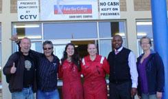 SOTS visit FBC's Khayelitsha Campus: Kent Terje Ingebretsen (Head of SOTS Upper Secondary School), Pierre Koekemoer (FBC Programme Manager), Antoinette and Alma (SOTS students),Lungisa Mbulawa (FBC Khayelitsha Campus Head), Anna Marita (Teacher at SOTS).