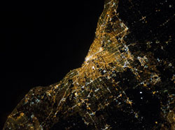 A night shot of Cleveland, home of The Tabbies. (Image: NASA)