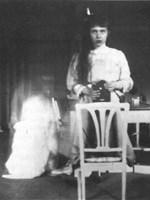 One of the first teen selfies, taken by Grand Duchess Anastasia Nikolaevna of Russia using a mirror and Kodak Brownie box camera, in 1914. Photo via