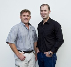 From left are the 2013 winners in the commercial radio categories: Daron Mann (Best Breakfast Show Presenter) and Wayne Hart (Best Music Show for the Algoa FM Top 30)