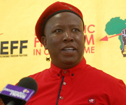 "Julius Malema on SABC's Hlaudi Motsoeneng: ""You could be thrown out 'like a used a condom' by Zuma"". (Image extracted from the EFF website)"