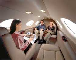 The interior of Cessna's Citation Mustang luxury jet. Image:
