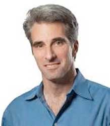Apple's software boss, Craig Federighi explaining the intergration of devices using new system sofware and writing code using a new program called Swift. Image: Apple.
