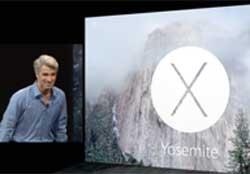 Craig Federighi demonstrating the new Yosemite system software
