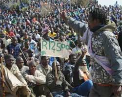 Platinum miners remain on strike, demanding a minimum wage of R12,500 per worker. Image: