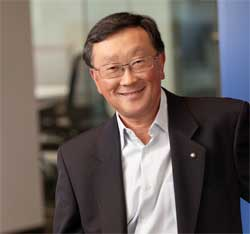 BlackBerry's Chief Executive John Chen says the company is on track to return to profitability. Image: