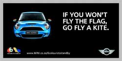 """A typical Mini billboard seen on SA's roads. People complained about Mini's billboard, with a statement that read """"Drive it like it's Stolen"""". Ironically, the billboard itself has been stolen. Image:"""
