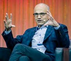 Microsoft's Satya Nadella says the company is focused on being a platform for users around the world with its cloud and mobile devices. Image: Wikimedia