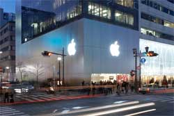 Apple's store in Ginza, Japan was buzzing as people from various countries including China queued for hours to get their hands on the new phones and sell them at a profit in mainland China. Image: Apple