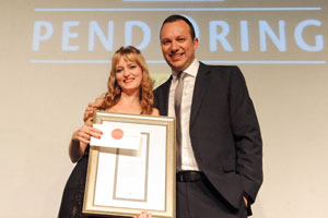 Judy Kriel a student of the North-West University won the overall student prize for her work MK-sosiaal. The award was handed over by Adriaan Basson, Editor of Beeld, on behalf of Media24, a Platinum Sponsor.