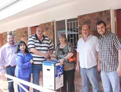 Majuba Rotary Club members accepting Sappi's generous donation of waste paper collection bins boxes. From left: Peet Smit, Jaishree Surajlal, Johann Wagner, Nel Vuyk (Waste Salvage – a Sappi waste paper agent), Michael Kloppers (Sappi ReFibre) and Janco Coetzee.
