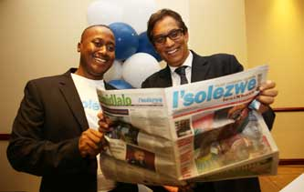 Pictured at the official opening of the new offices of I'solezwe lesiXhosa: Dr Iqbal Survé, executive chairman of Independent Media and Unathi Kondile, editor of I'solezwe lesiXhosa