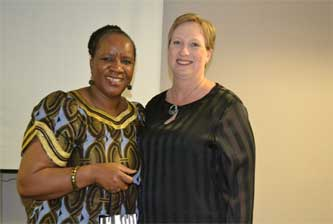 Dr Buhle Mbambo-Thata with Dr Marlene Holmner, course presenter and senior lecturer in the Department of Information Science (UP).